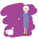 Aged lady walking with white fluffy dog. Old women, elderly grandmother with pet. Vector illustration Stock Images