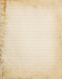 Aged lined copybook paper page. With stained edge Royalty Free Stock Image