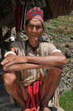 Aged Man. Indigenous senior citizen of the mountains in Southeast Asia stock photo