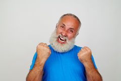Aged man gesturing nervousness isolated on white Royalty Free Stock Image