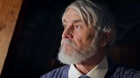 Aged Man With Stern Look. Face Of Gray Haired Man With Beard. He Looks Somewhere.