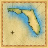 Aged map of Florida. Computer generated illustration of hand drawn map of Florida Stock Images
