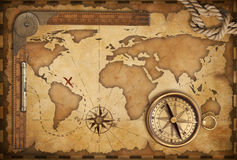 Aged map, ruler, rope and old compass Stock Images