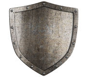 Aged metal shield isolated on white Stock Photography
