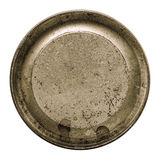 Aged metal texture in a round frame isolated white Royalty Free Stock Photos