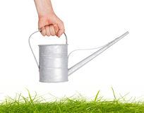 Aged metallic watering can isolated Royalty Free Stock Photography
