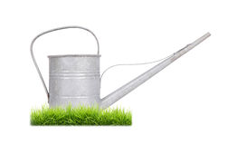 Aged metallic watering can isolated Royalty Free Stock Image