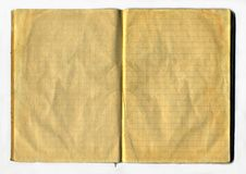 Aged Notebook. Top view of a opened and aged notepad Royalty Free Stock Photos