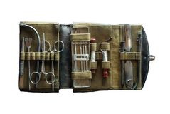 Ancient medical instrument in case Stock Photos