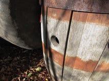 Aged oak barrel. Sitting outside fort many years - Moose Jaw Royalty Free Stock Photo