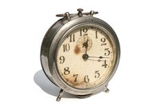 Old alarm clock isolated on white background royalty free stock photos