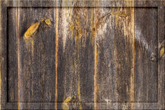 Aged old dark wooden timber plank wall background blank billboard notice-board Royalty Free Stock Photography
