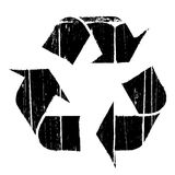 Aged old recycle symbol texture. Vector illustration of an aged and old textured recycling symbol design element Stock Photo