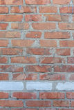 Aged Old Red White Gray Brick Wall Texture Destroyed Concrete Shabby Urban Messy Brickwall Structure. royalty free stock image