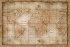 Aged or old world map stylization Stock Image