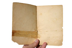 Aged open book - isolated. Simply add your text or picture stock photos