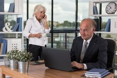 Aged pair working in bureau Royalty Free Stock Image