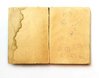 Aged Paper. Blank pages from an old book, dirty and full of mark, stains and childish drawings Royalty Free Stock Photo
