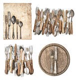 Aged paper, antique kitchen utensils and vintage silver cutlery Stock Image