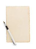 Aged paper parchment on white. Aged paper parchment isolated on white background Stock Image