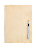 Aged paper parchment on white. Aged paper parchment isolated on white background Royalty Free Stock Photo