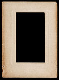 Aged paper photo frame isolated on black. Background Royalty Free Stock Image
