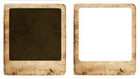 Aged paper photo frame isolated on white background. Old vintage grunge cardboard with space for your picture stock photography