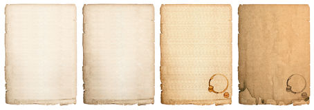 Aged paper sheet isolated on white background. used book page Royalty Free Stock Image