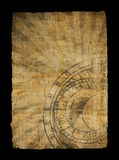 Aged paper with zodiac clock Stock Images