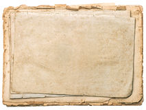 Aged papers with edges isolated on white. Vintage book pages Royalty Free Stock Images