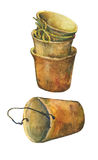 Aged patina on terra cotta plant pots. Hand drawn watercolor painting on white background royalty free illustration