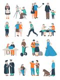 Aged People Characters Collection Royalty Free Stock Images