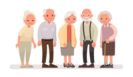 Aged people. Grandparents on a white background. Vector illustration in a flat style stock illustration