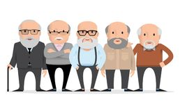 Aged people. A group of old people. In various poses. Grandfathers retired on white background stock illustration