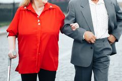 Aged People. Are Holding Each other`s Hands Royalty Free Stock Photography