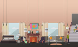 Aged people at home vector illustration in flat style Royalty Free Stock Image