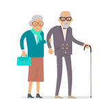 Aged People Walk Isolated. Happy Senior Man Woman. Aged people walking isolated on white. Happy senior man and woman together. Middle aged couple. Older man and vector illustration