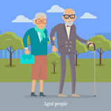 Aged People Walking in Park Happy Senior Man Woman. Aged people walking in park. Happy senior man and woman together. Middle aged couple. Older man and woman royalty free illustration