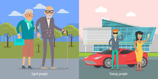 Aged People Walking in Park. Young Couple Near Car royalty free illustration