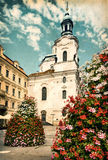 Aged picture of St. Nicolas Church in Prague Royalty Free Stock Image