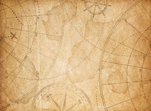 Aged pirates treasure map background Stock Photos