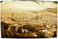 Aged Postcard Florence. Impression of city of Florence, done in aged paper effect Stock Images