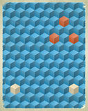 Aged poster with blue cubes Royalty Free Stock Photos