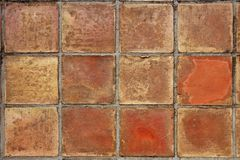 Aged real roman clay square flooring mediterranean Stock Images