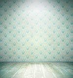 Aged room with floral wallpaper Stock Photos