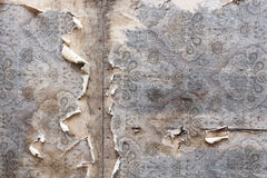 Aged room wall background with torn vintage wallpaper. Stock Photos
