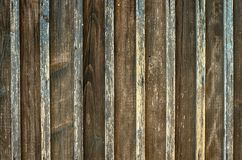 Old wooden fence background texture. Aged rough rustic vertical brown color planks as a wall or floor background texture Royalty Free Stock Images