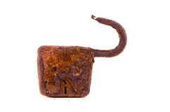Aged and rusty metal lock  on white Royalty Free Stock Images