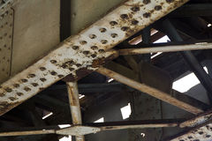 Aged rusty steel rail construction Stock Photo