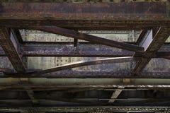 Aged rusty steel rail construction Stock Photos